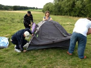 Putting up tents